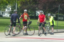 Dozen of Bikers gathered along the routh