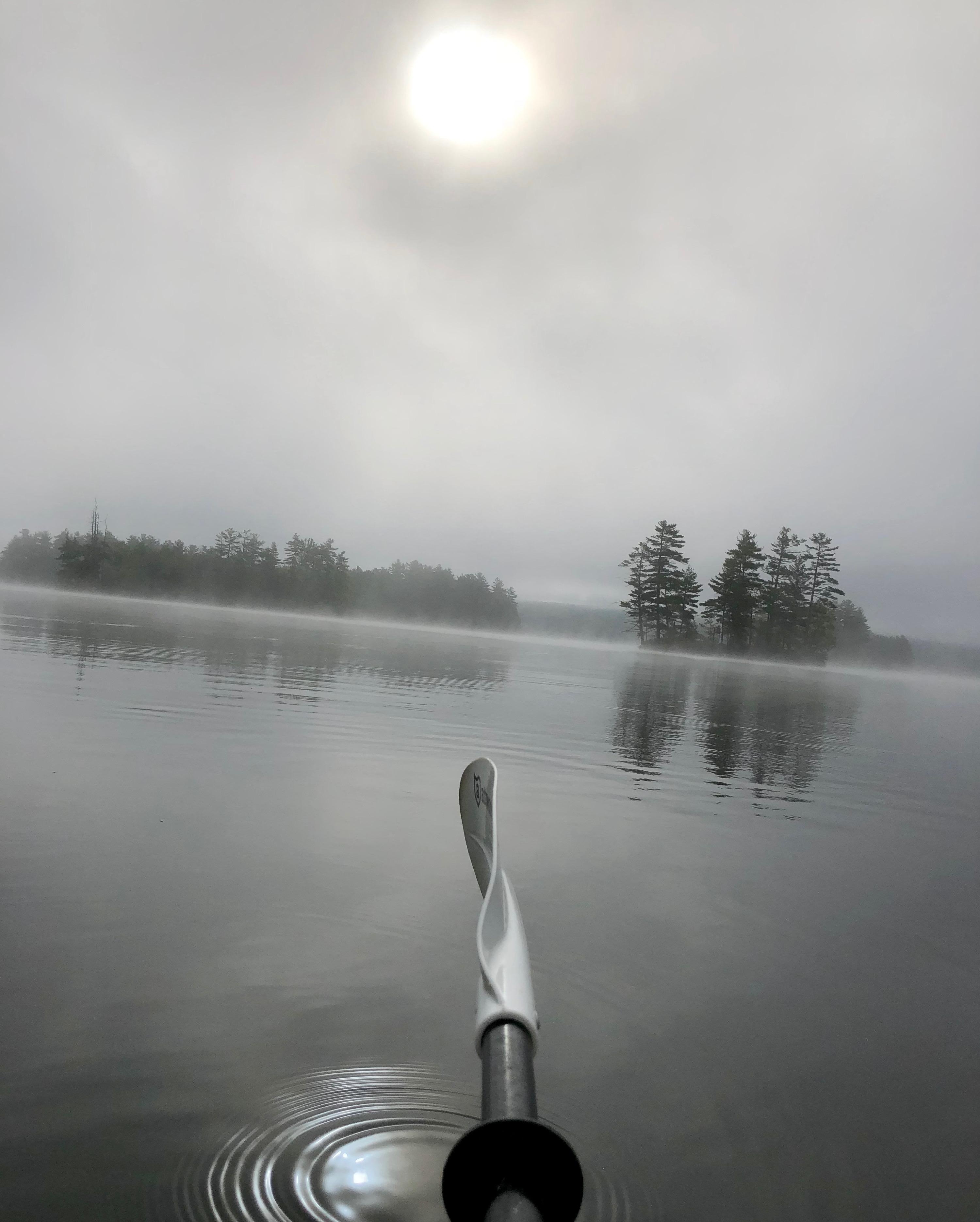 Fog burning off Thompson Lake 2018