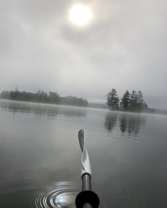 Fog burning off Thompson Lake 2018