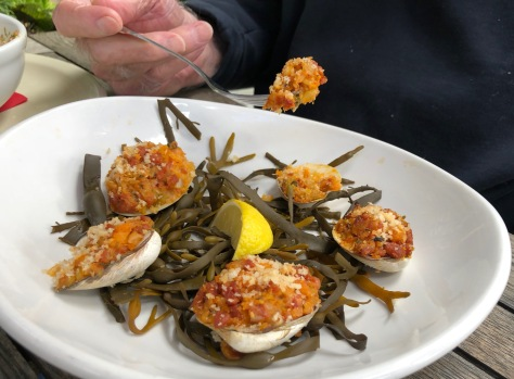 Five littlenecks stuffed with chorizo and buttered breadcrumbs