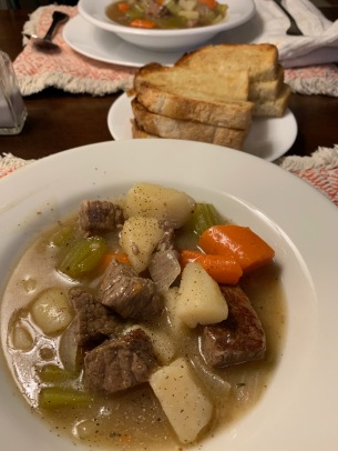 Our Beef Stew dinner last night